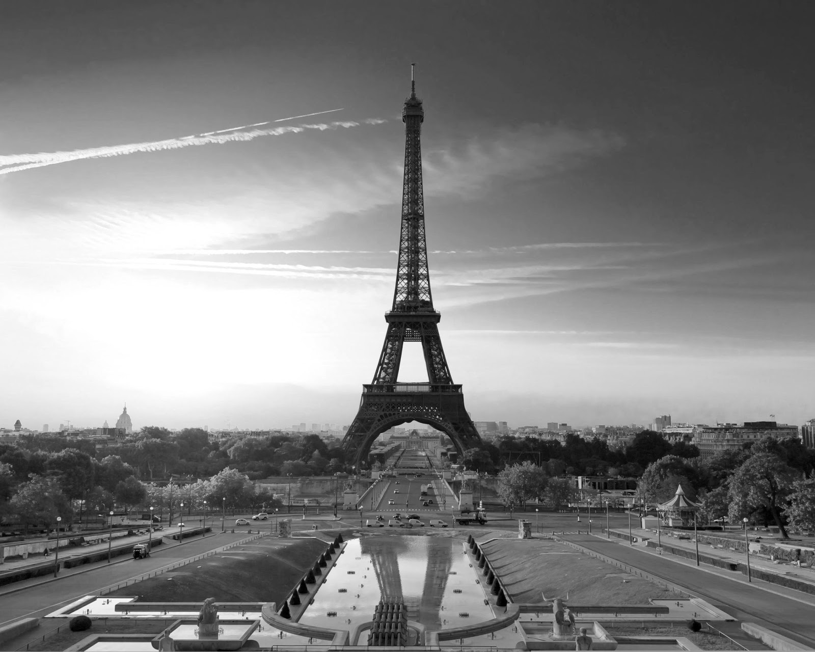 Full Eiffel Tower black and white Photo