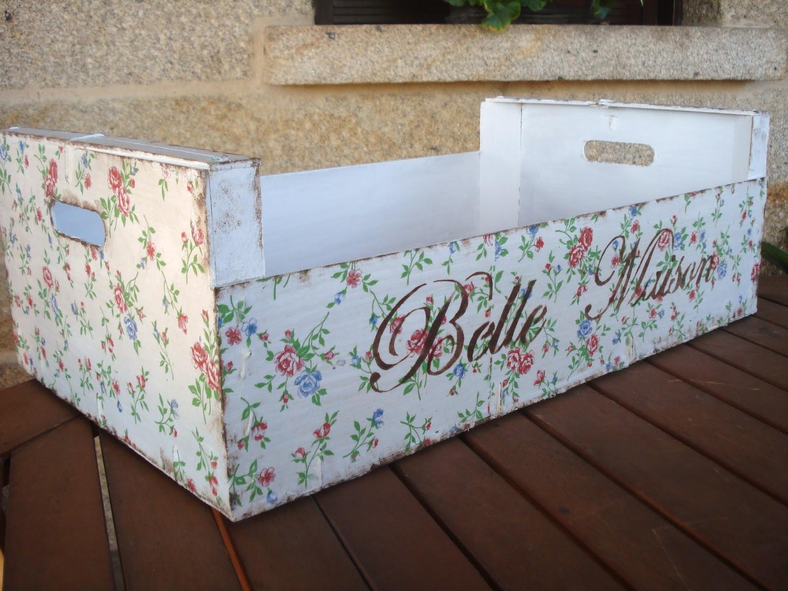 Xanela vintage caja de fruta con decoupage - Decorar caja de fruta ...