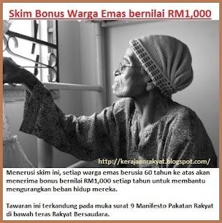 Manifesto Pakatan Rakyat Skim Bonus Warga Emas bernilai RM1,000