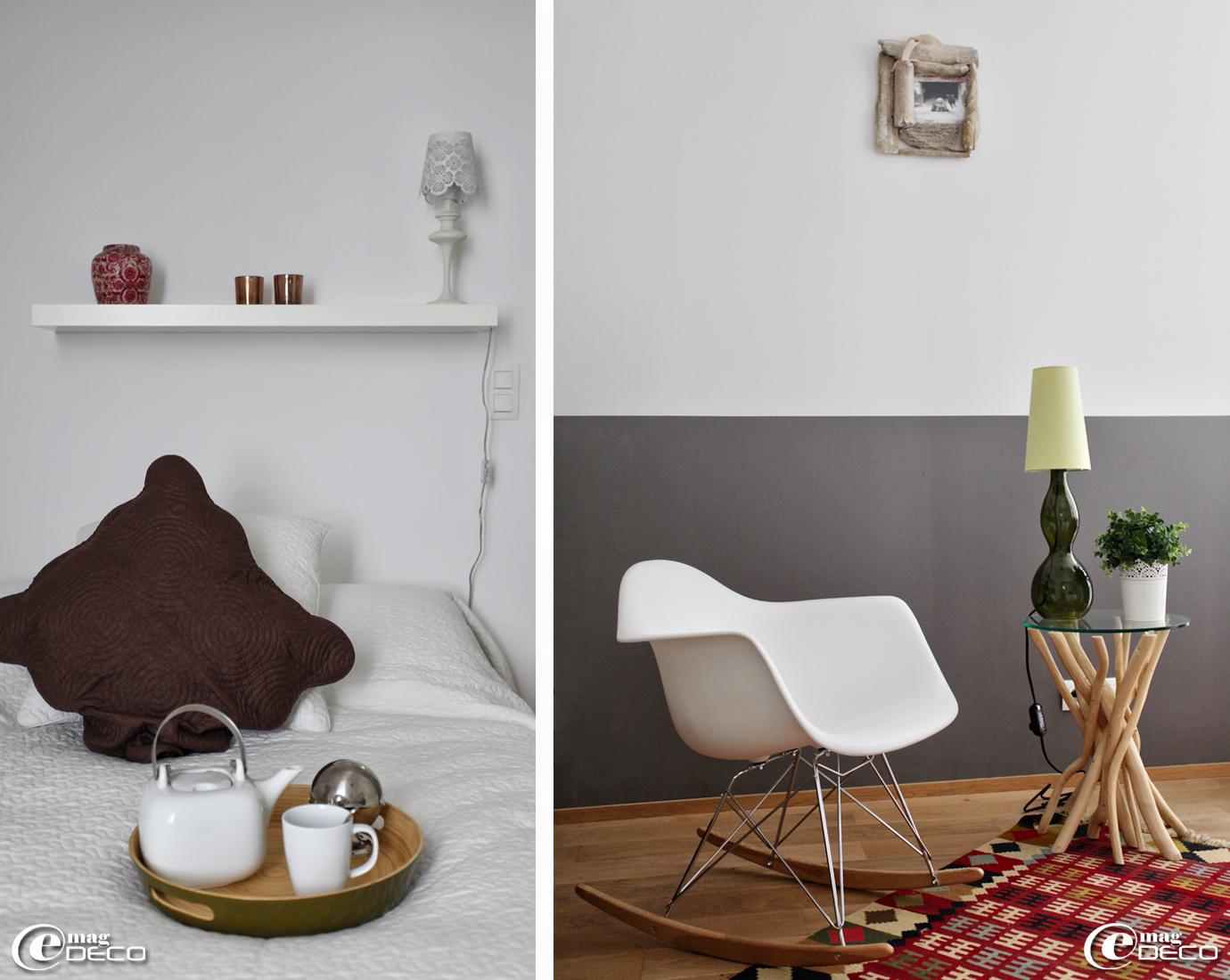 Table basse en bois flotté et fauteuil à bascule réédité de Charles et Rey Eames