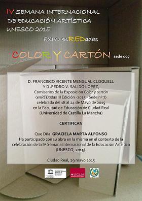 """Certificado""""IV Semana Internacional de Educación Artística UNESCO"""""""
