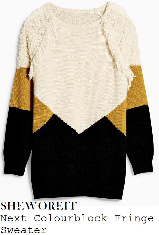 lucy-jo-hudson-cream-black-mustard-colourblock-fringe-jumper