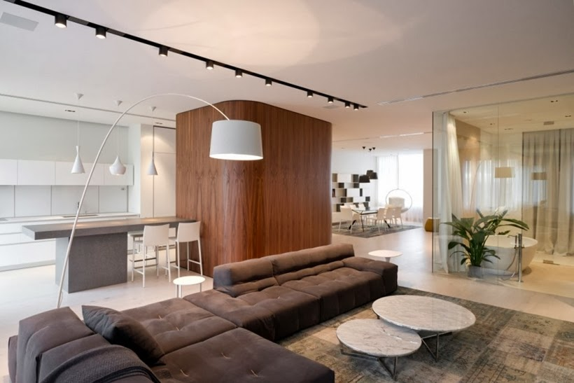 Interior of Minimalist modern apartment in Moscow
