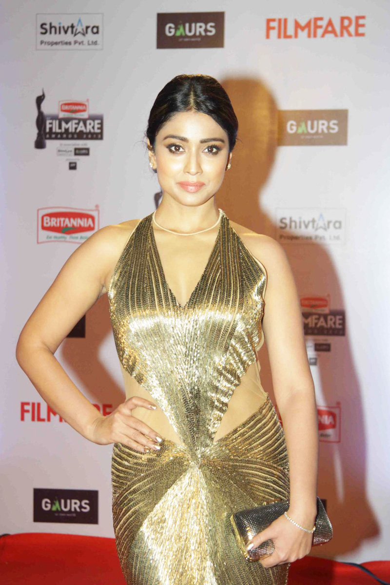 Shriya Saran Latest Photos at Filmfare Awards 2016 In Yellow Dress