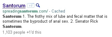 Google definition of 'santorum'