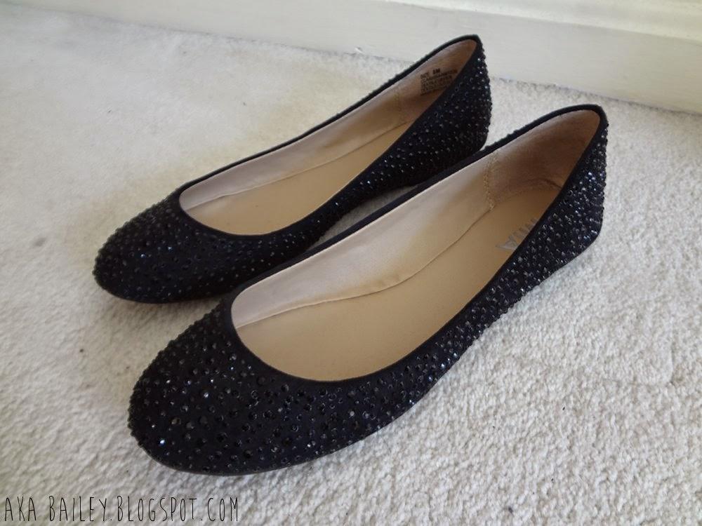 MIA Clarissa Flats, black flats with black rhinestones