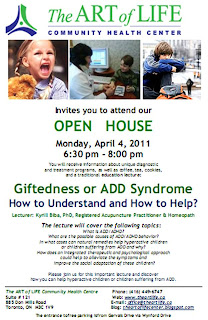 Poster: The Art of Life Community Health Centre Toronto Open House: Giftedness or ADD Syndrome: understanding and helping gifted children