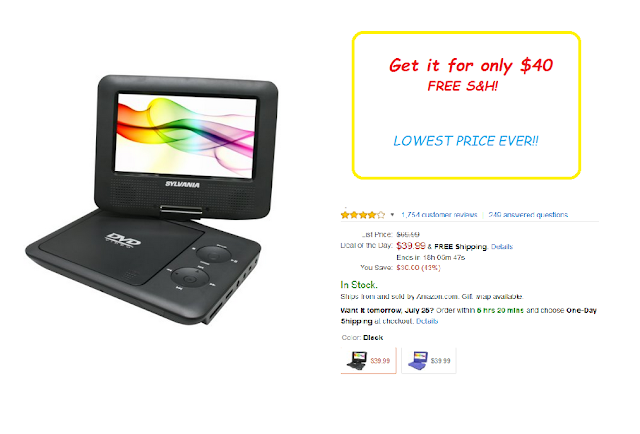 Get the Sylvania 7-Inch Portable DVD Player for $39.99 with FREE S&H