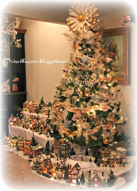 This Tree With The Book Page Tree Topper Is The Perfect Place For The  Village !