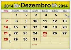 CALENDÁRIO DO MÊS DE  DEZEMBRO  DE 2014