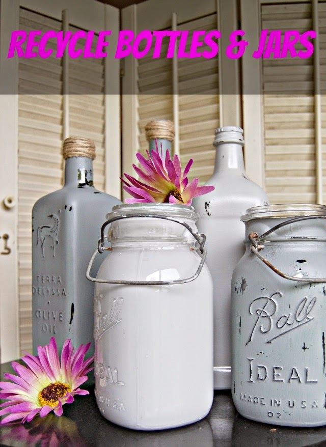 recycle bottles and jars, paint bottles, paint glass