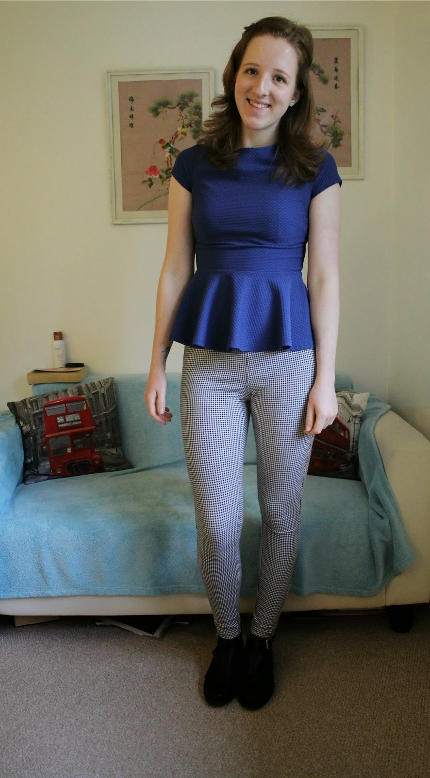 OOTD Gingham Leggings and Cobalt Blue Peplum