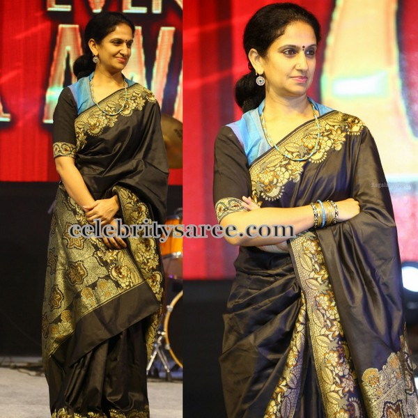 Black Kalamkari Pure Silk Saree