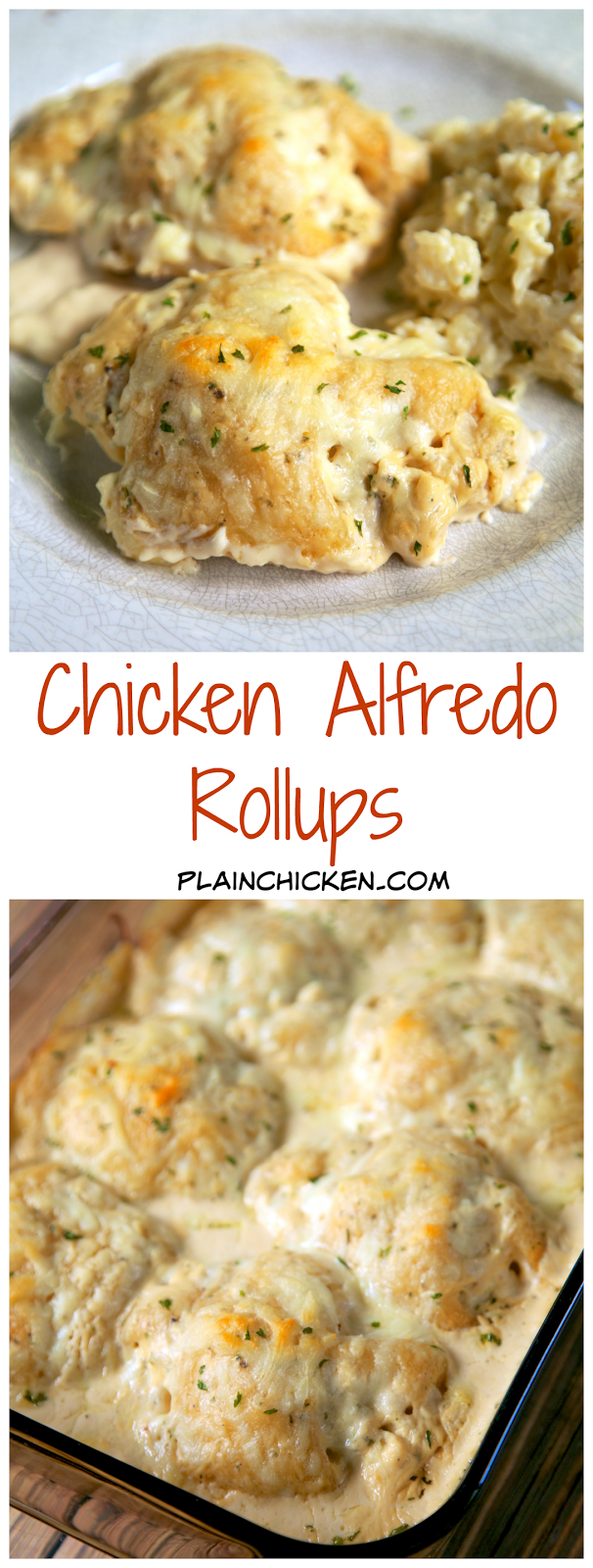 Chicken Alfredo Rollups Recipe - chicken, cream cheese, garlic powder, mozzarella, wrapped in crescent rolls and baked in Alfredo sauce. SO good. Serve with pasta/rice and salad or green beans. Quick weeknight meal!