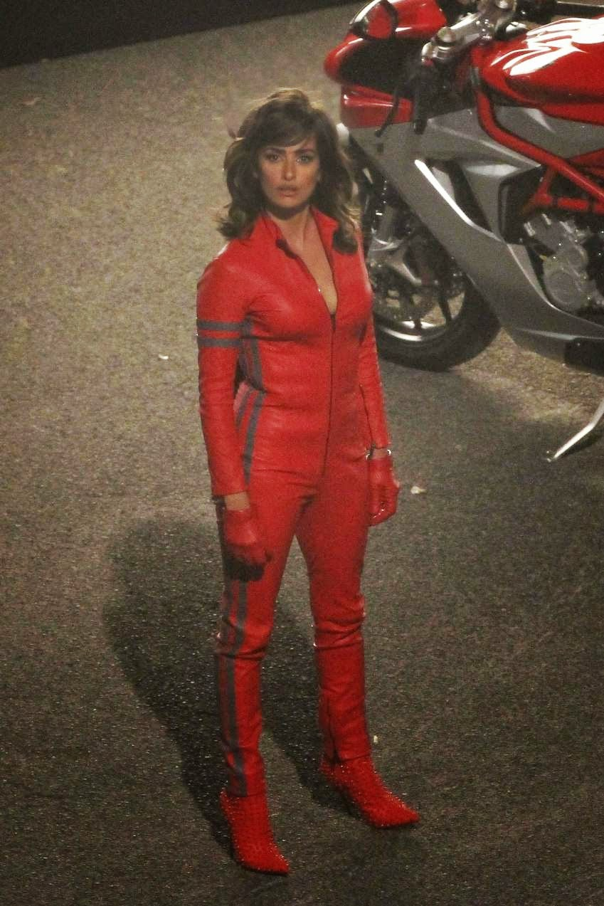 Penelope Cruz wearing a skintight red jumpsuit for 'Zoolander 2'