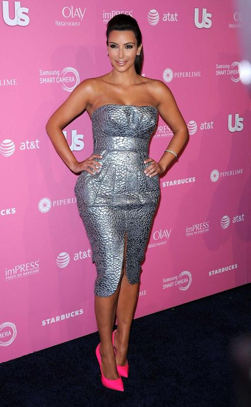 Kim Kardashian  in silver dress at Us Weekly Hot Hollywood Style Party 2012, photo
