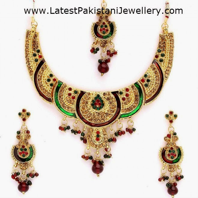 plated choker emerald beautiful finish ruby cz buy necklace jewellery online jewelsmart latest gold