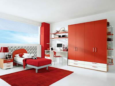 habitaciones en rojo y blanco