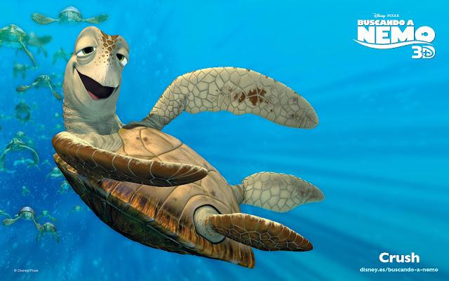 Wallpaper de la película de Pixar buscando a Nemo, la tortuga Crush