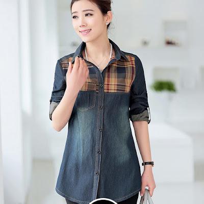 Kemeja Denim Jeans Wanita Lengan Pendek Branded