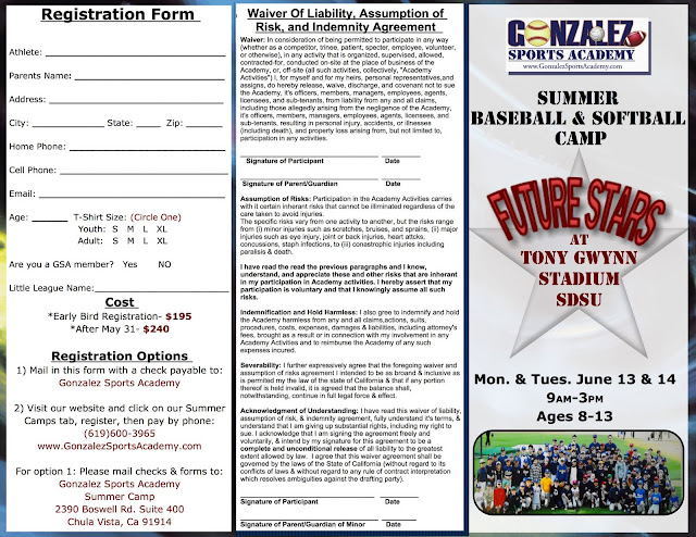 Gsa baseball camp flyer for Baseball brochure template