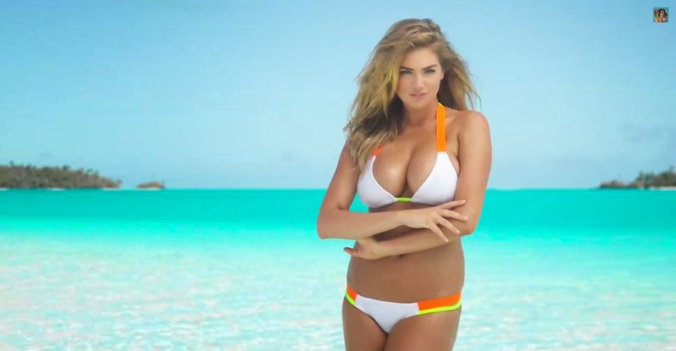 The famous model, Kate Upton is filmed behind the scenes during her latest sizzling Sports Illustrated 2014 photo shoots on Thursday, February 20, 2014 at Rarotonga, Cook Islands.