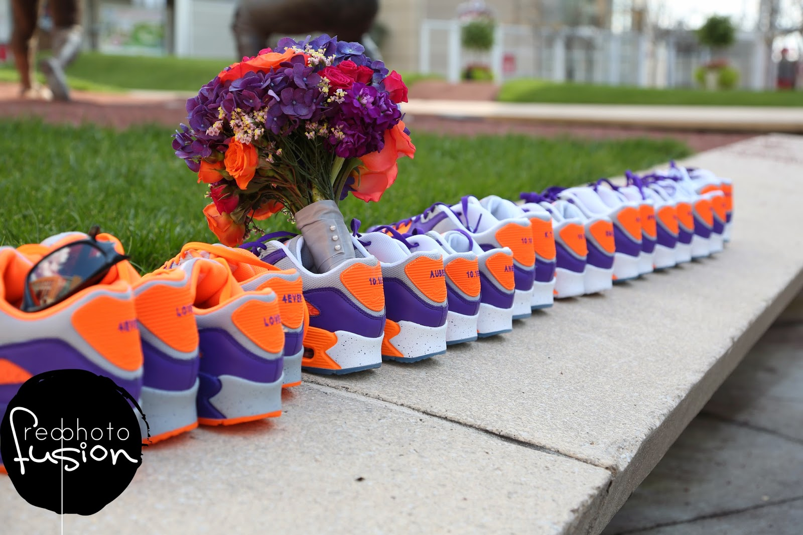 Colorful Bouquet In Orange And Purple Sneakers