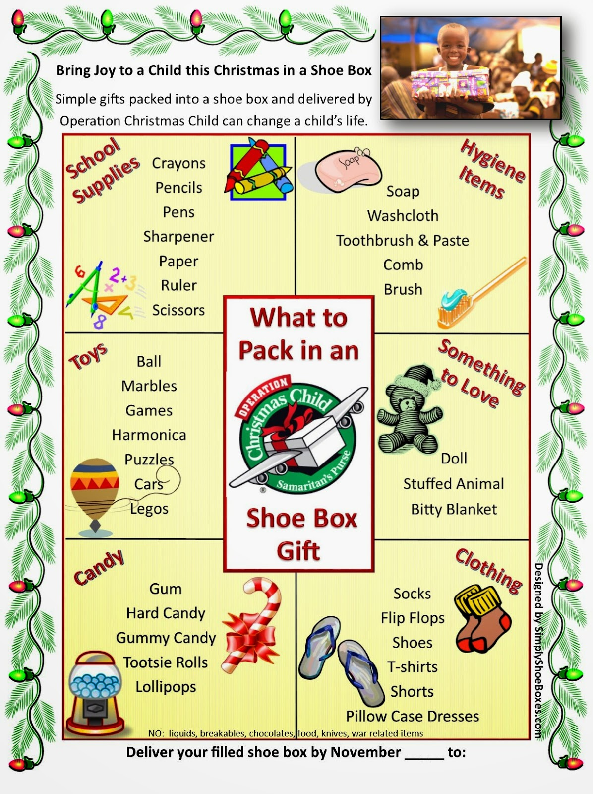 Operation Christmas Child Craft Ideas Part - 40: Operation Christmas Child What To Pack In A Shoe Box Poster