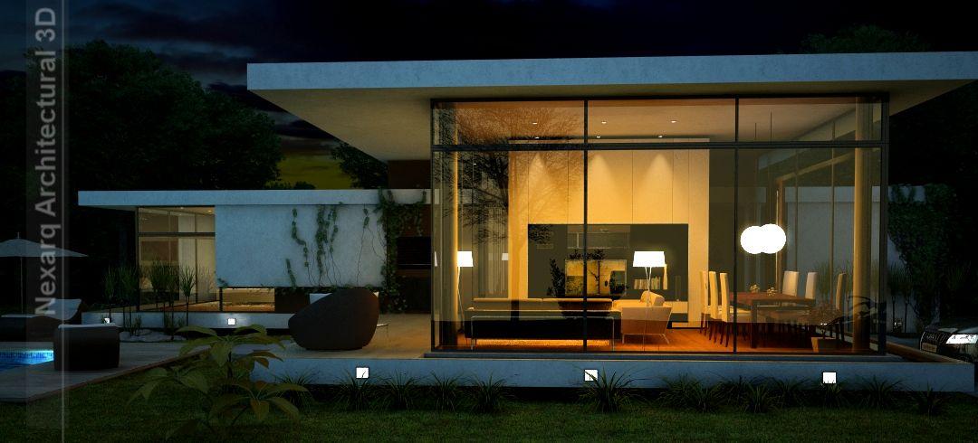 arquitectura 3D, render exterior de noche