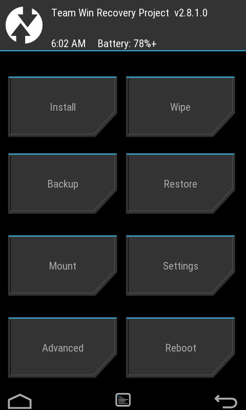 screenshot TWRP recovery 2.8.1.0 samsung galaxy v