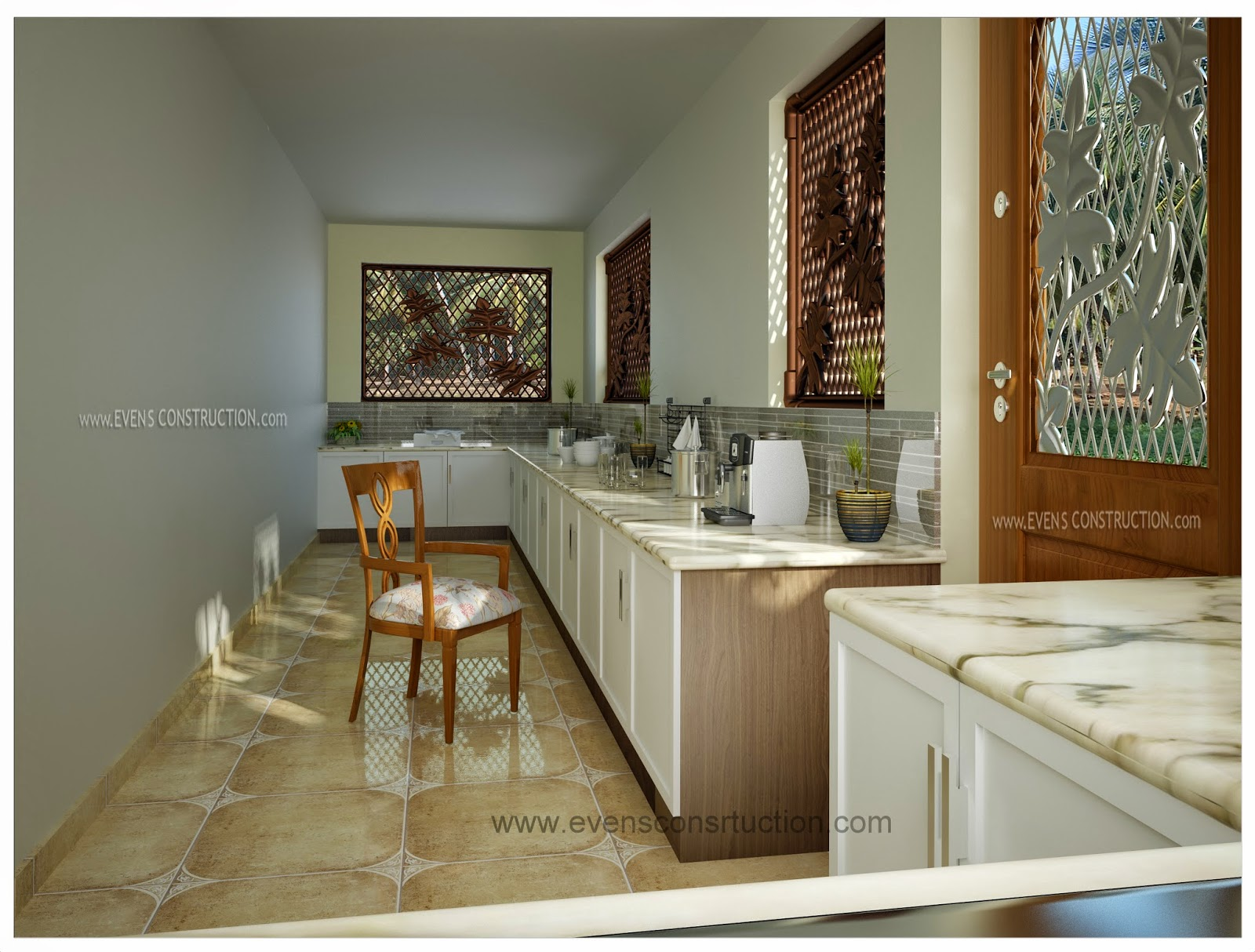 Elegant Kerala Kitchen Work Area Design Freshomedaily