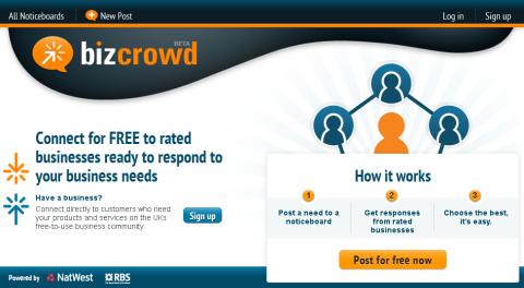 Page d'accueil de BizCrowd
