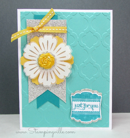 Just for You card with vellum embossed flower
