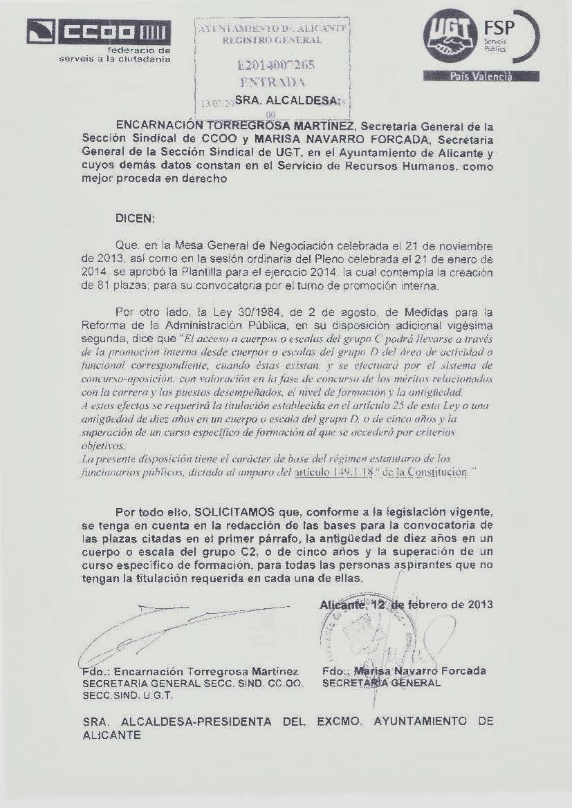 CCOO AYUNTAMIENTO DE ALICANTE: PROPUESTA BASES PROMOCIÓN INTERNA
