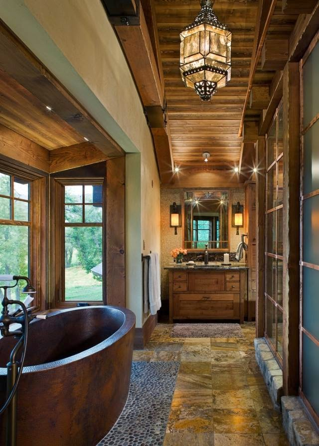 Baños Ambiente Rustico:Un box ducha de diseño moderno o minimalista no es adecuado en la