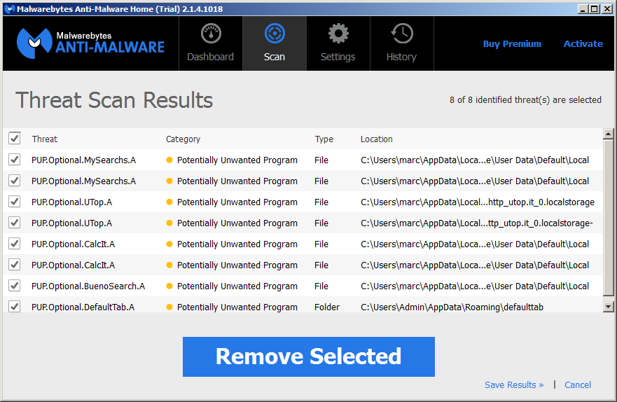 Malwarebytes Results scan