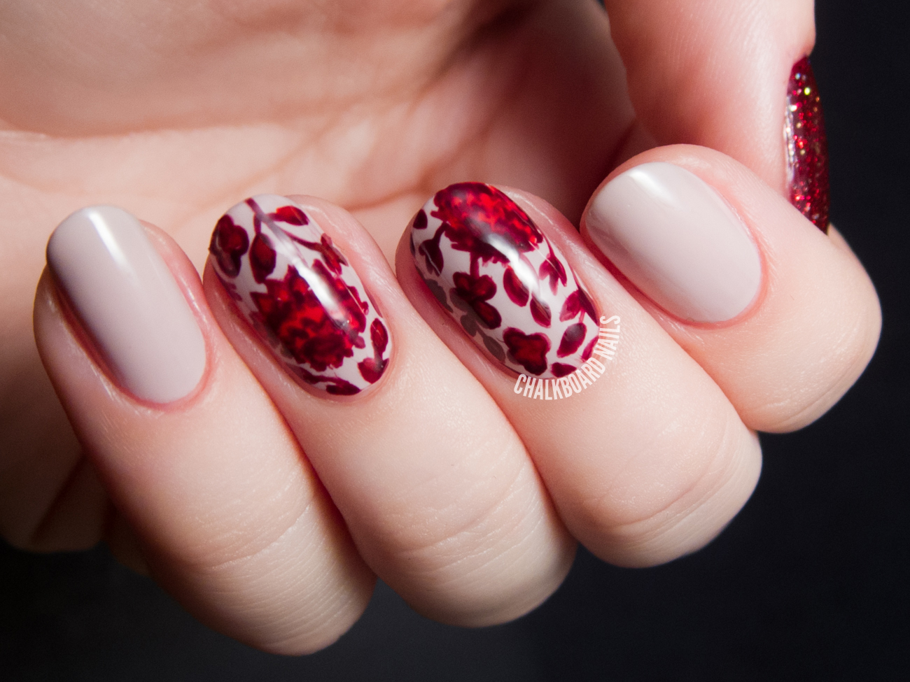 Ruby red floral print by @chalkboardnails