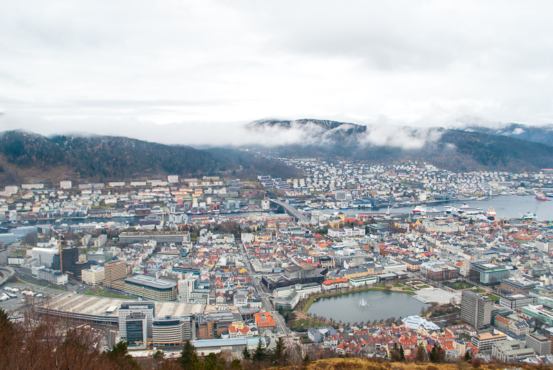 View of bergen from the top of floyen