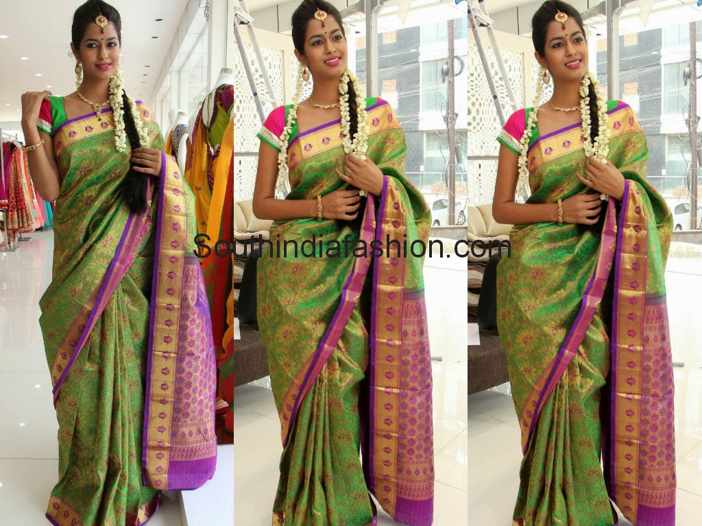 dark green pattu saree