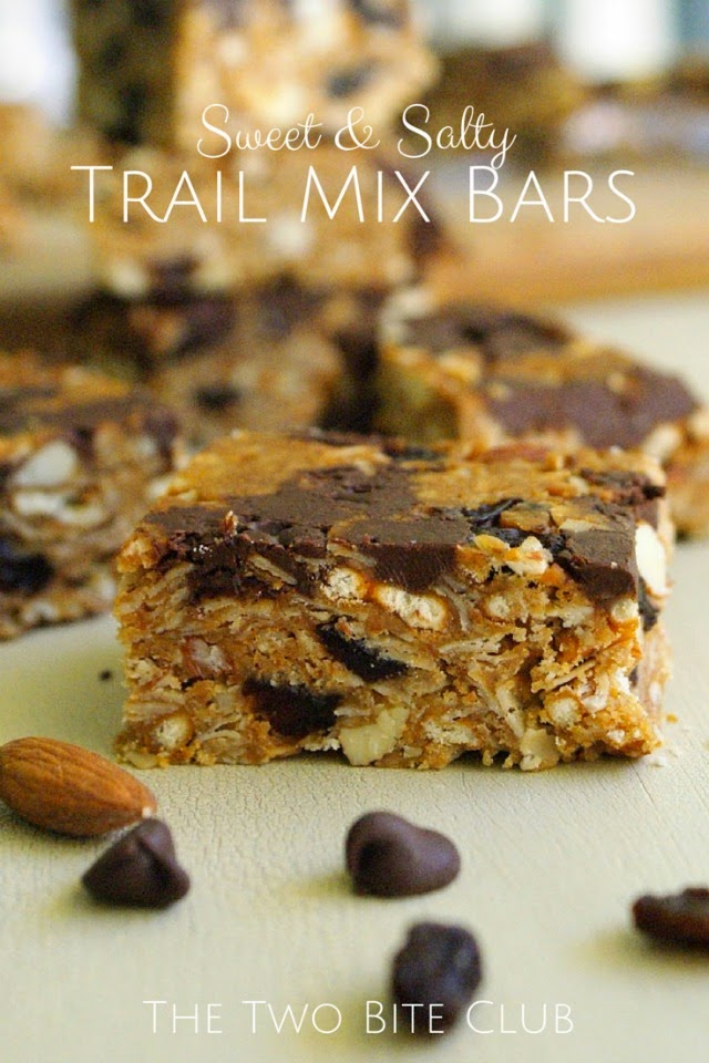 Sweet and Salty Trail Mix Bars made with pretzels, chocolate chips, raisins and nuts.