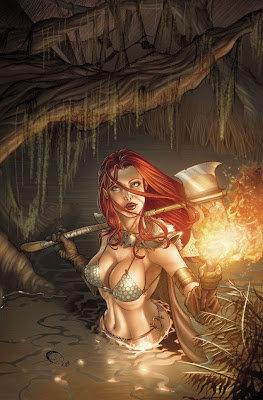 red headed warrior princess axe and torch