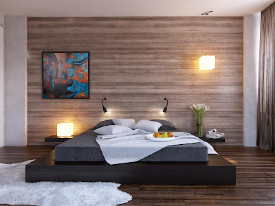Black platform bed wood clad bedroom wall furry rug