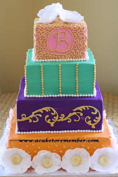 The wedding cake took it to another level Using four different colors and