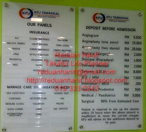 Bayaran Deposit di Hospital  KPJ Tawakkal Kuala Lumpur