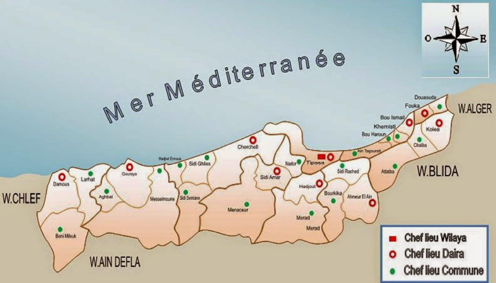 Carte Algerie Tipaza.Decoupage Administratif De L Algerie Monographie Monographie De