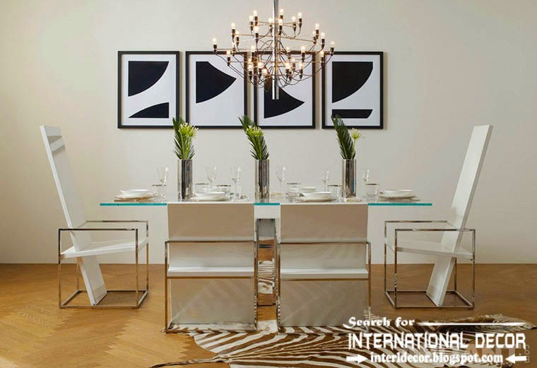 Contemporary dining room sets, ideas and furniture 2015, stylish arm chairs