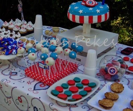 Centro De Mesa Capitán América: Cumpleaños Tematicos Dulces Pekes: Mesa Dulce Tematica