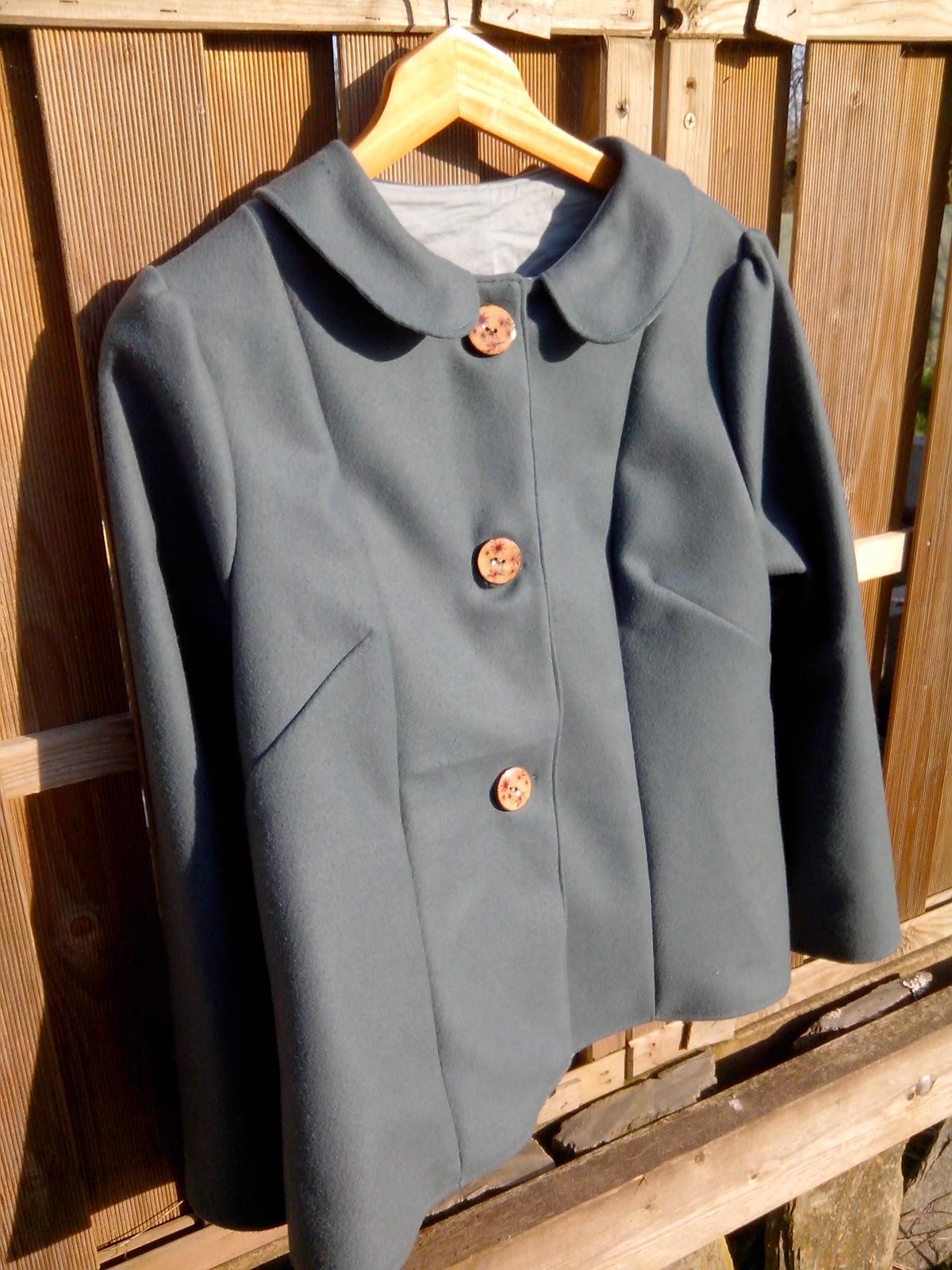 veste col claudine drap de laine bleu