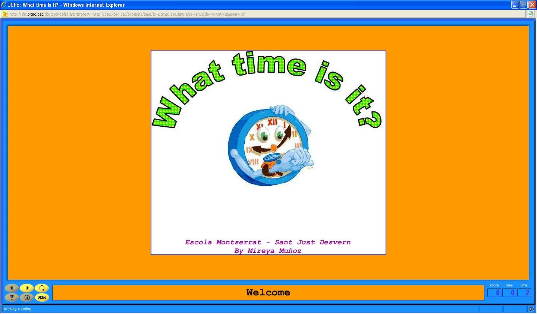 Resultat d'imatges de jclic what time is it