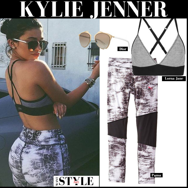 Kylie Jenner in grey sports bra, grey marble print leggings and mirrored Dior reflected sunglasses workout clothes